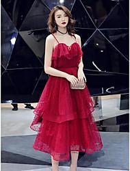 Недорогие -А-силуэт На тонких бретелях Ниже колена Тюль Платье с Слои юбки от LAN TING Express