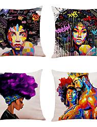 hesapli -4 set afrika tarzı keten kare dekoratif atmak yastık kılıfları kanepe yastık kapakları 18x18