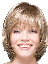 cheap -Synthetic Wig / Bangs Natural Straight Style Bob Capless Wig Golden Light golden Synthetic Hair 14 inch Women's Fashionable Design / Smooth / Women Golden Wig Short Natural Wigs / Ombre Hair