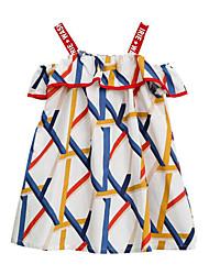 お買い得  -子供 女の子 かわいいスタイル / ストリートファッション ストライプ / パッチワーク パッチワーク / プリント ノースリーブ レーヨン ドレス ホワイト