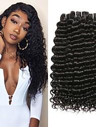 Недорогие -3 Связки Бразильские волосы Крупные кудри человеческие волосы Remy Человека ткет Волосы One Pack Solution Накладки из натуральных волос 8-28 inch Естественный цвет Ткет человеческих волос