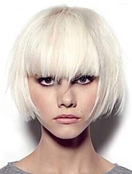 Недорогие -Парики из искусственных волос Естественные прямые Стиль Средняя часть Без шапочки-основы Парик Белый Белый Искусственные волосы 12 дюймовый Жен. Градиент цвета Белый Парик Длинные