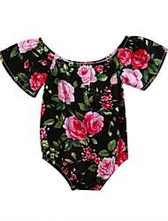 hesapli -Bebek Genç Kız Temel Desen Sexy Kolsuz Pamuklu bodysuit Siyah