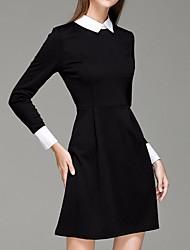 billige -kvinner over kneet en linje kjole skjorte krage svart s m l xl