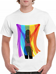 billige -Herre - Tegneserie T-shirt Hvid XL