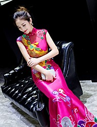 cheap -Mermaid / Trumpet High Neck Floor Length Satin Dress with Pattern / Print by LAN TING Express