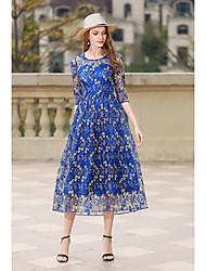 economico -Linea-A Con decorazione gioiello Lunghezza tè Tulle Vestito con Ricamo di LAN TING Express