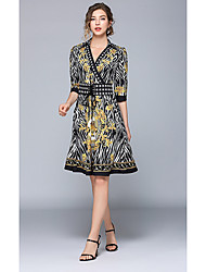 2a52a863670 cheap Cocktail Dresses-Casual Dress A-Line V Wire Knee Length Jersey Dress  with