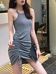 billiga -kvinnor över knä en linje klänning band svart grå en-storlek
