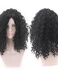 halpa -Synteettiset peruukit Kinky Straight Tyyli Keskiosa Suojuksettomat Peruukki Musta Musta Synteettiset hiukset 12 inch Naisten Naisten Musta Peruukki Pitkä Luonnollinen peruukki