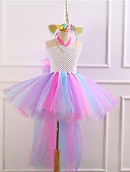 preiswerte -Kinder / Baby Mädchen Aktiv / Süß Patchwork Spitze Ärmellos Asymmetrisch Baumwolle / Polyester Kleid Weiß