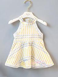 お買い得  -子供 女の子 かわいいスタイル ストリートファッション 水玉 / 波点 パッチワーク パッチワーク プリント ノースリーブ レーヨン ドレス ホワイト