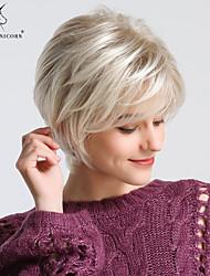Χαμηλού Κόστους -Συνθετικές Περούκες Ίσιο / Φυσικό ευθεία Στυλ Κούρεμα νεράιδας Χωρίς κάλυμμα Περούκα Ξανθό Ανοικτό Χρυσαφί Συνθετικά μαλλιά 24 inch Γυναικεία Χωρίς Οσμή / Μοδάτο Σχέδιο / συνθετικός Ξανθό Περούκα