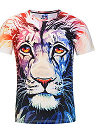 お買い得  -男性用 Tシャツ 動物 ピンク XL