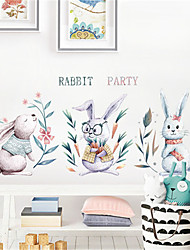 povoljno -ručno oslikana nordijski stil slatka zeca zidne naljepnice dječja soba ukras dječji vrtić raspored besplatne naljepnice pozadina samoljepljiva