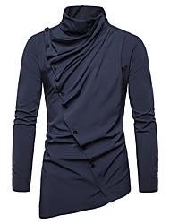 preiswerte -Herrn Solide Hemd Schwarz L