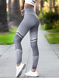 abordables -Femme Pantalon de yoga Noir Gris Des sports Bloc de Couleur Spandex Collants Leggings Bas Danse Course / Running Fitness Tenues de Sport Evacuation de l'humidité Butt Lift Contrôle du Ventre Power