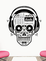billige -hodetelefoner rock skull wall sticker dekorative halloween kunst tapet