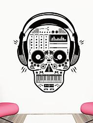 זול -אוזניות רוק גולגולת קיר מדבקה דקורטיביים ליל כל הקדושים אמנות טפט