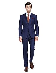 preiswerte -Dunkel Blau / Dunkelgrau / Dunkelmarine Solide Weite Passform Wollmischung Anzug - Fallendes Revers Einreiher - 2 Knöpfe