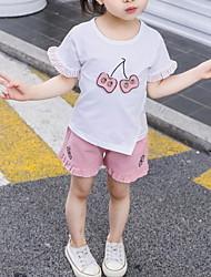 hesapli -Bebek Genç Kız Sokak Şıklığı Meyve Kısa Kollu Normal Polyester Kıyafet Seti Beyaz