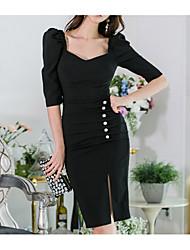 abordables -Femme Mi-long Moulante Robe Noir M L XL Demi Manches