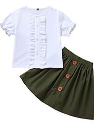 Недорогие -малыш Девочки Классический Однотонный С короткими рукавами Обычный Полиэстер Набор одежды Военно-зеленный