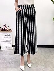 baratos -Mulheres Básico Perna larga Calças - Listrado / Xadrez / Quadrados Branco