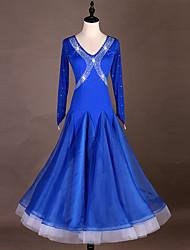 お買い得  -ボールルームダンス ドレス 女性用 性能 スパンデックス / オーガンザ コンビ / クリスタル / ラインストーン 長袖 ドレス