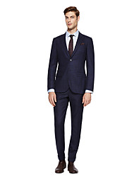 cheap -Deep Blue / Dark Grey / Dark navy Solid Colored Standard Fit Wool Blends Suit - Peak Single Breasted Two-buttons