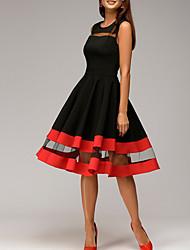 Недорогие -Жен. Большие размеры Классический Тонкие Оболочка Платье - Однотонный До колена