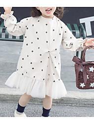 hesapli -Bebek Genç Kız Temel Yuvarlak Noktalı Uzun Kollu Polyester Elbise Bej