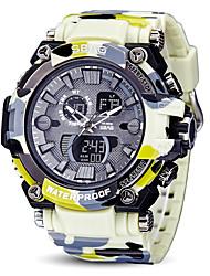 Недорогие -Муж. Спортивные часы Японский Японский кварц Черный / Белый / Серый 30 m Защита от влаги Календарь С двумя часовыми поясами Аналого-цифровые На открытом воздухе Новое поступление - Черный Серый Желтый