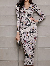 رخيصةأون -فستان نسائي ثوب ضيق أساسي ميدي هندسي