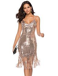 Недорогие -Жен. Классический Облегающий силуэт Оболочка Платье - Однотонный, Открытая спина С кисточками До колена