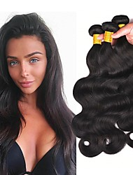 tanie -3 zestawy Włosy brazylijskie Body wave Włosy naturalne remy Nakrycie głowy Fale w naturalnym kolorze Doczepy 8-28 in Kolor naturalny Ludzkie włosy wyplata Życie Nowości 100% Dziewica Ludzkich włosów