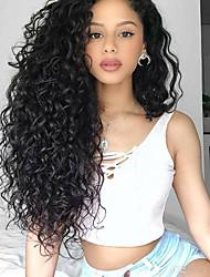 Χαμηλού Κόστους -Συνθετικές μπροστινές περούκες δαντέλας Bouncy Curl / Σφιχτό μπούκλα Στυλ Μέσο μέρος Δαντέλα Μπροστά / Χωρίς κάλυμμα Περούκα Μαύρο Κατάμαυρο Συνθετικά μαλλιά 26 inch Γυναικεία