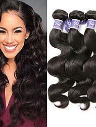 cheap -3 Bundles Malaysian Hair Wavy Body Wave Virgin Human Hair 100% Remy Hair Weave Bundles Headpiece Natural Color Hair Weaves / Hair Bulk Bundle Hair 8-28 inch Natural Color Human Hair Weaves Odor Free