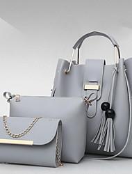 رخيصةأون -نسائي أكياس PU مجموعات حقيبة 3 قطع محفظة مجموعة شرابة لون الصلبة البيج / رمادي / أصفر