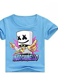 tanie -Dzieci Dla dziewczynek Podstawowy Nadruk Krótki rękaw Bawełna / Spandeks T-shirt Czerwony