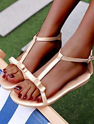 billige -Dame PU Forår & Vinter / Forår sommer Vintage / Minimalisme Sandaler Flade hæle Åben Tå Rosette / Spænde Hvid / Sølv / Lys pink