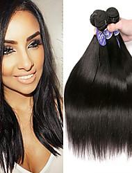 Недорогие -4 Связки Перуанские волосы Прямой Необработанные натуральные волосы 100% Remy Hair Weave Bundles Человека ткет Волосы Пучок волос Накладки из натуральных волос 8-28 дюймовый Нейтральный / Без запаха
