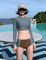رخيصةأون -نسائي ملابس السباحة Rashguard حماية من الأشعة فوق البنفسجية متنفس خفيف جدا (UL) نايلون كم طويل ملابس السباحة ملابس الشاطئ ملابس السباحة بقع سباحة / عالية المرونة