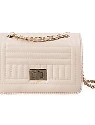 رخيصةأون -نسائي أكياس البوليستر / PU حقيبة كروس سلسلة لون الصلبة أبيض / أسود / البيج