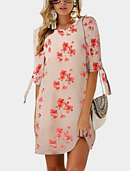 저렴한 -여성용 베이직 보호 시프트 티셔츠 셔츠 드레스 - 플로럴 컬러 블럭, 프린트 무릎 위