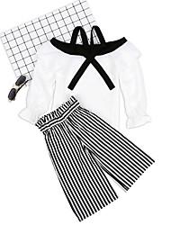 tanie -Dzieci / Brzdąc Dla dziewczynek Aktywny / Podstawowy Solidne kolory / Prążki Nadruk Długi rękaw Regularny Regularny Bawełna / Poliester Komplet odzieży Biały