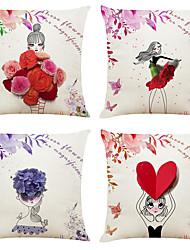 economico -set di 4 modello di ragazza creativa di lino quadrato decorativo tiro federe per cuscini cuscino del divano copre 18x18