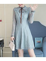 저렴한 -여자의 무릎 길이 스윙 드레스 라이트 블루 핑크 베이지 스무드 xl