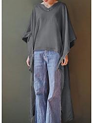 baratos -Mulheres Evasê Vestido Sólido Assimétrico