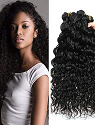 tanie -3 zestawy Włosy brazylijskie Wodne fale Włosy naturalne remy Fale w naturalnym kolorze Pakiet włosów Doczepy z naturalnych włosów 8-28 in Kolor naturalny Ludzkie włosy wyplata Modny design Prezent